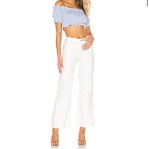 Free People High Rise Straight Flare White Jeans